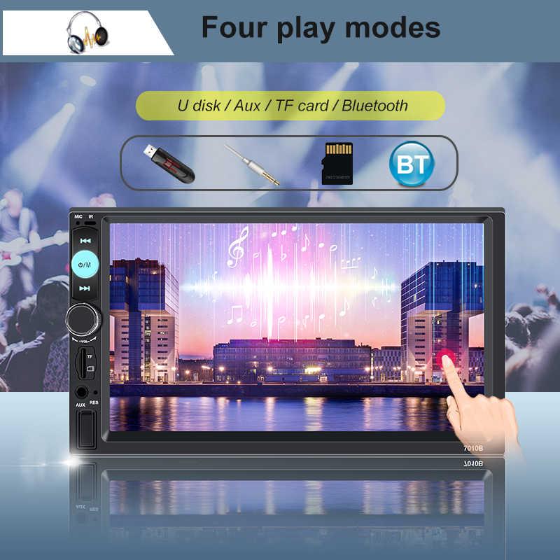 Autoradio 2 Din 7 ''タッチスクリーンの Bluetooth カーラジオプレーヤーオーディオチューナーリア AUX リアビューカメラで Araba Teypleri FM