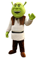 New Shrek Mascot Costume Cartoon Apparel Halloween Party Costume Adult Size with Green Fat Head Laughing Face Free Shipping