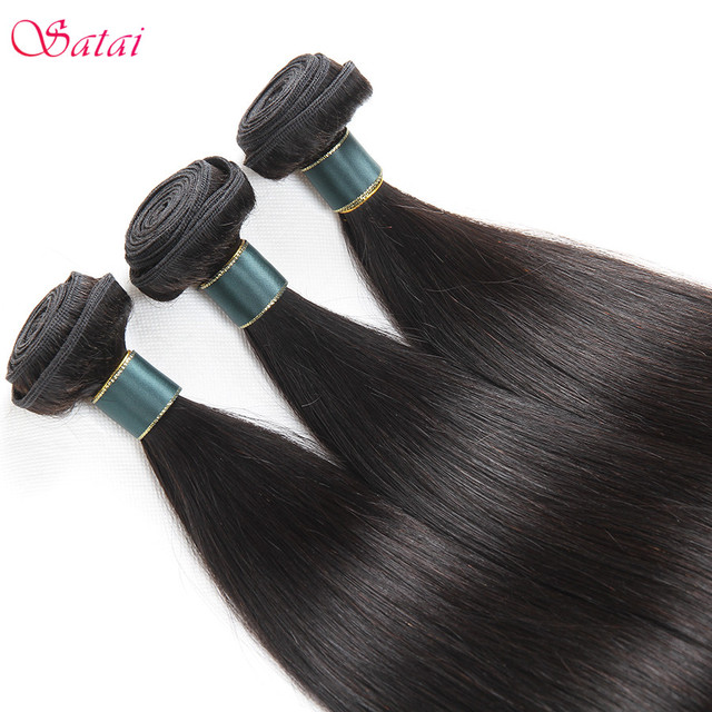 Satai Brazilan Straight Hair Human Hair 3 Bundles With Frontal Best Brazilian Hair Frontal With Bundles Non Remy Hair Extension 3