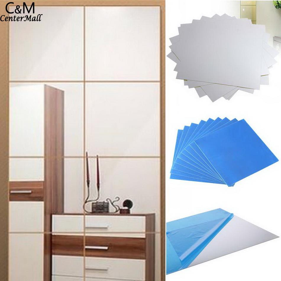 Tile 9pcs DIY Stickers Mosaic Decal Mirror Square Decorations wall paper 3D wallpaper home decor