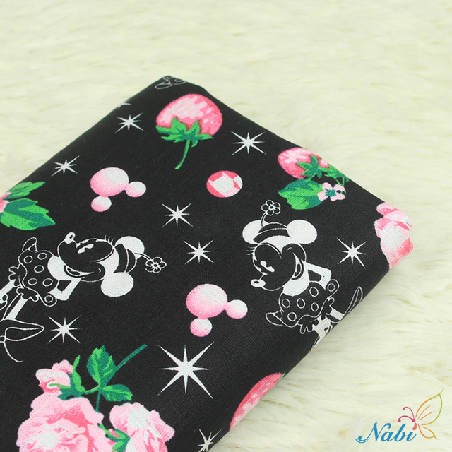 50*140cm Mickey Minnie Mouse princess Elasticity knitted cotton fabric For Sewing Fat Quilting Patchwork girl Cloth Kid Textile