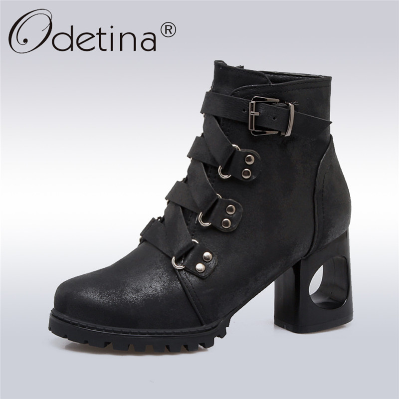 Odetina 2017 New Fashion Women High Heel Ankle Boots Buckle Side Zipper Round Toe Booties Ladies Strange Style Shoes Big Size 43 t strap round toe women lolita wedge high heel shoes new 2017 side open japanese style wedges with buckle straps free shipping