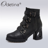 Odetina 2017 New Fashion Women High Heel Ankle Boots Buckle Side Zipper Round Toe Booties Ladies