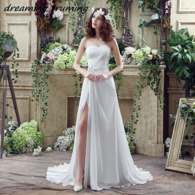 vestidos de novia Simple Boho Wedding Dress Pleated Crystal Front ...