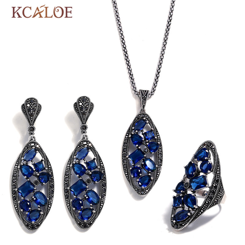 KCALOE Bride Sets Blue Crystal Big Ear Ring Earrings Necklace Jewelry Set For Women Antique Silver