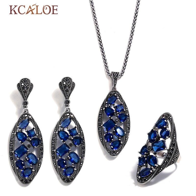 KCALOE mariée définit bleu cristal grande oreille bague boucles d'oreilles collier bijoux ensemble pour les femmes Antique argent couleur bijoux de mariage