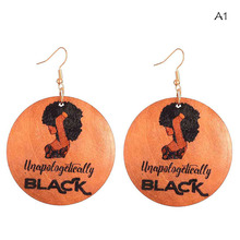 60cm Natural Wood African Unapologetically Black Letters Rock Africa Map Earrings Vintage Party Club Afro Jewelry Wooden DIY