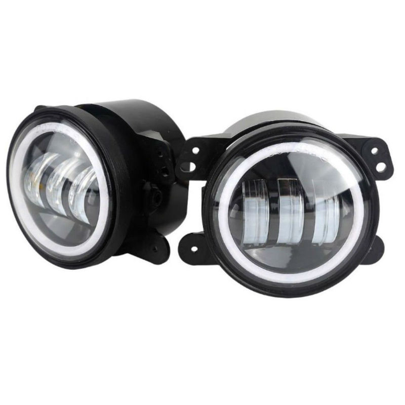 1 Pair 4inch Round LED Fog Passing Lamp 30W Fog Light with White Halo for Jeep Wrangler JK TJ LJ Hummer Dodge Journey on sale 2pcs auto accessories 6500k 4inch 30w led fog lamp light fits for jeep wrangler jk 2007 2015