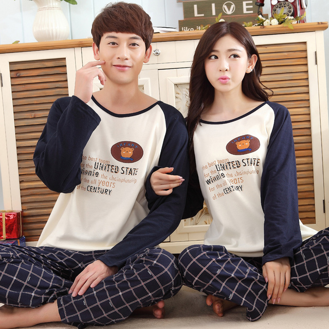 db9b401f6a New Couple Pajamas sets funny pjs autumn and winter Long Sleeves Leisure  Wear Suit sleepers home clothing Free shipping