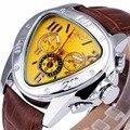 Excelentes Dos Homens de Negócios Mecânico Automático do Relógio de Pulso Pulseira de Couro VENCEDOR Triangular Dial Sub Mostradores