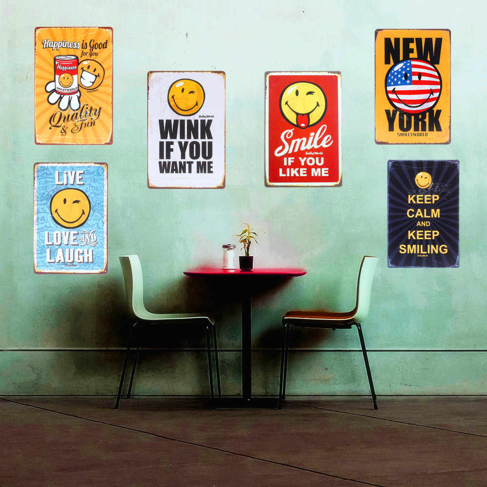 KEEP CALM And KEEP SMILING Retro Tin Signs Cafe Home Decor Vintage ART Poster Metal Painting Wall Sticks 20*30cm N067