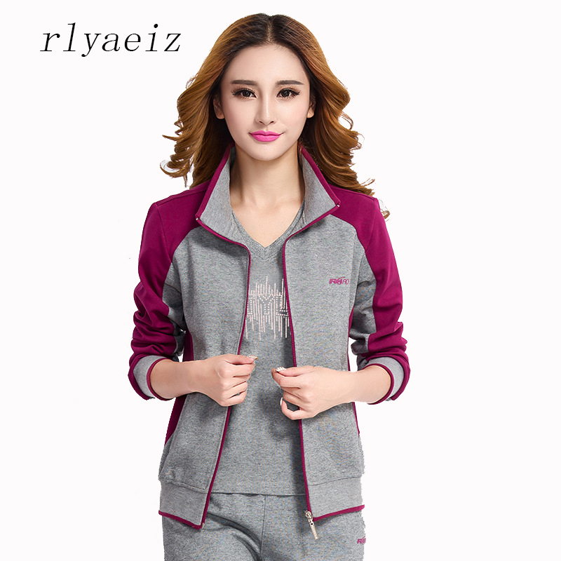 RLYAEIZ New Sportswear Women 2 Piece Set 2017 Casual Woman Sporting Suits Zipper Hoodies + Pants Sporting Wear Female Tracksuits