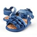 Новорожденный Ребенок Жан Взгляд Летняя Обувь Девушки Дети Младенческой Мягкой Подошвой Обуви Малыша 0-18 М