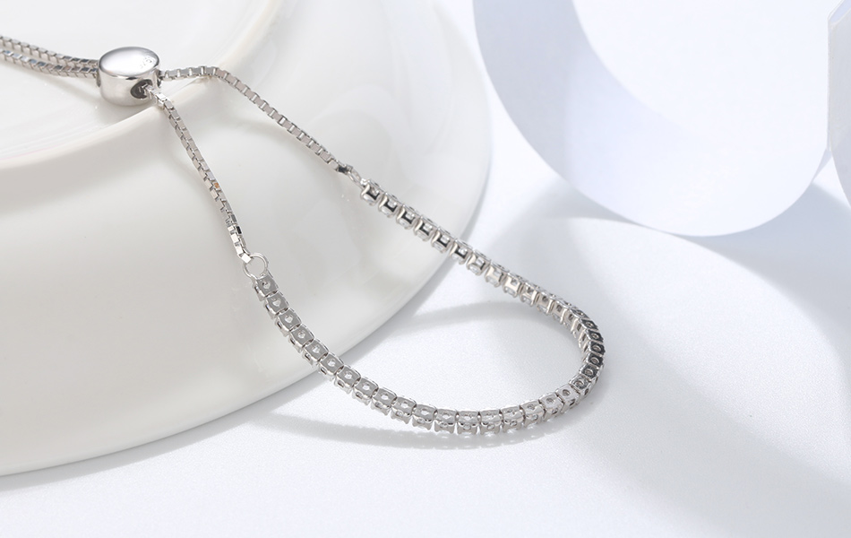 HTB1ur3aXR1D3KVjSZFyq6zuFpXaw ORSA JEWELS Real 925 Adjustable Bracelet With Single Row Transparent ZirconSterling Silver Chain Dating Collocation Jewelry SB43