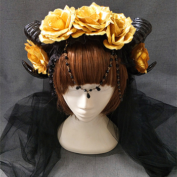 New Halloween Lolita Cosplay The Veil Demon Evil Gothic Sheep horn Flowers Headband Hairband Accessory Headwear Prop 1