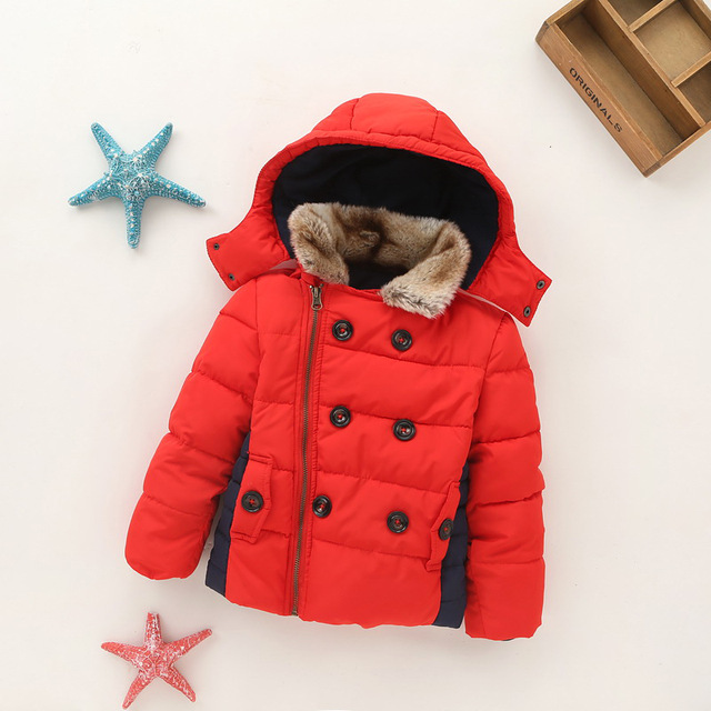YNB High Quality Children Thicken  Winter Coat 2017 Brand New Kids Winter Jacket Parka Boys Clothes Children's Red Cotton Coats