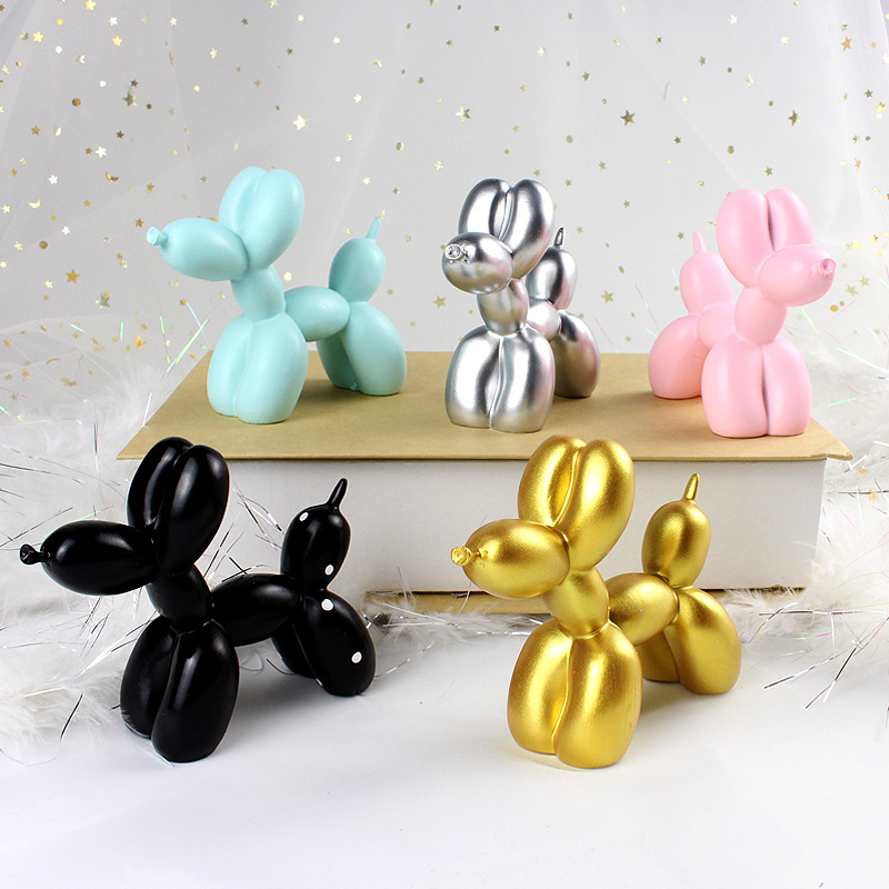 Cute Small Balloon Dog Resin Crafts Sculpture Gifts Fashion Cake Baking Home Decorations Party Dessert Desktop Ornament 5 Colors