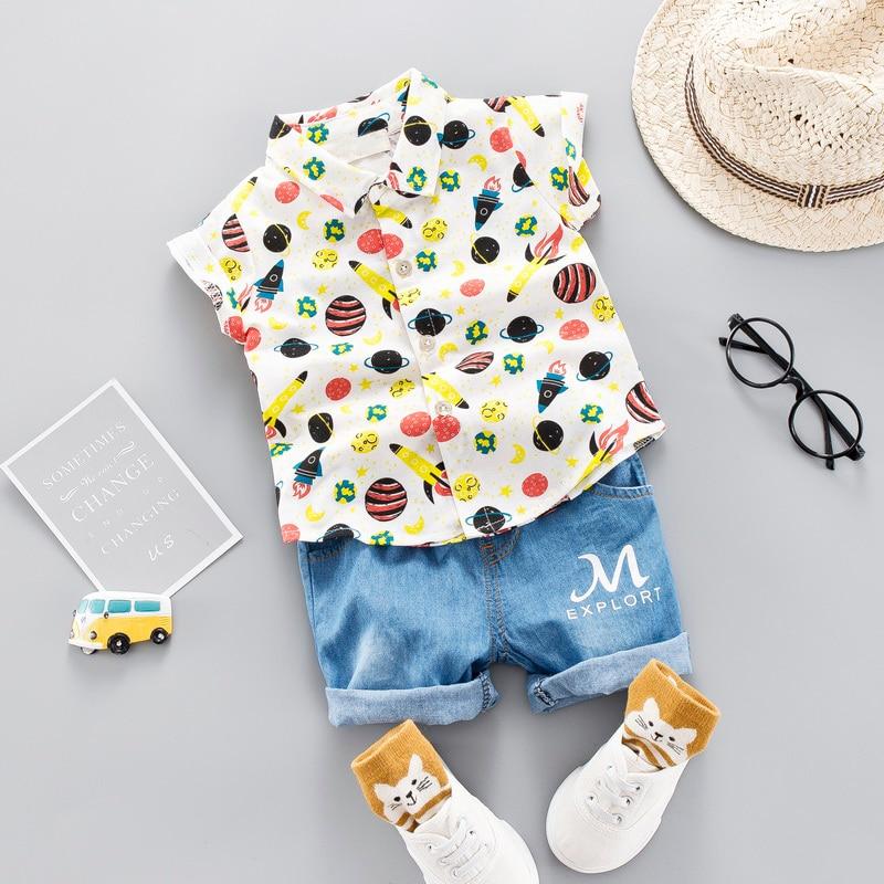 9a292b26a Meninos Conjuntos de Roupas de Impressão Do Bebê Crianças Roupas de verão  Camisa de Manga Curta