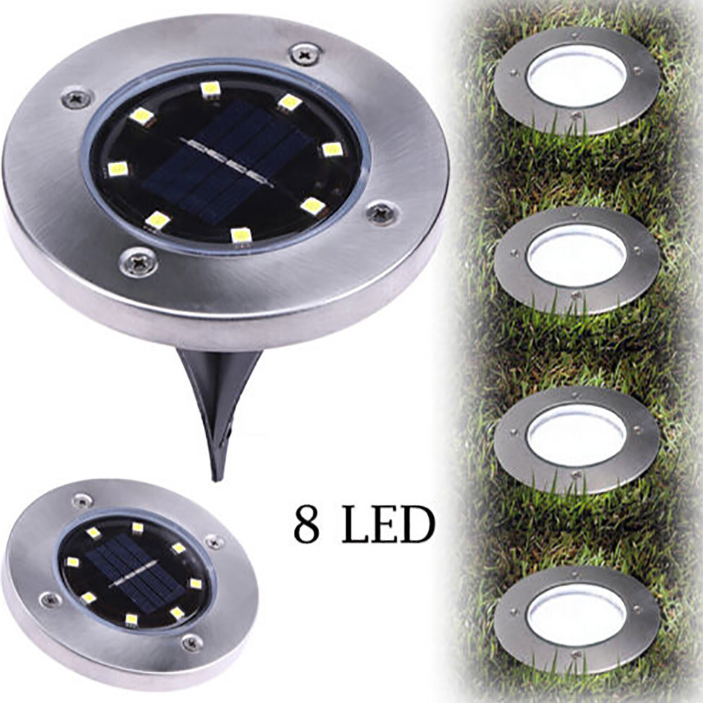 Hot Sale Underground Light 8 LED Solar Power Buried Light Under Ground Lamp Outdoor Path Way Garden Lawn Yard Outdoor Lighting