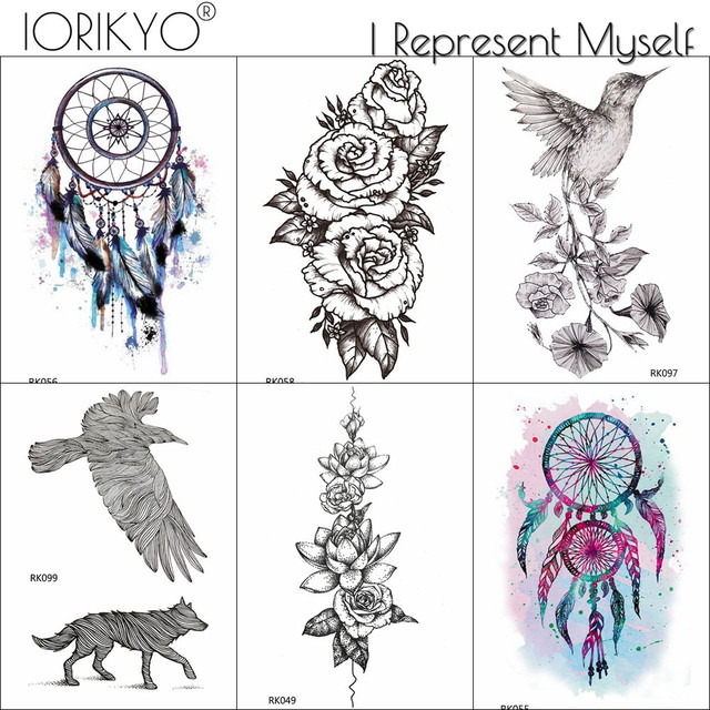 f0e747bcc IORIKYO Black Rose Flower Temporary Tattoo Women Arm Dreamcatcher  Waterproof Tatoo Men Eagle Fake Tattoo Sticker