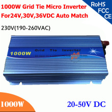 New 1000W grid tie micro inverter 20V-50VDC, 190V-260VAC 220V/230V, workable for 1200W, 24V, 30V, 36V for solar system