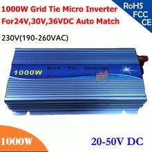 1000 Вт сетки галстук инвертора микро-инвертор 20V-50VDC, 190V-260VAC 220 V/230 V, работоспособность для 1200 Вт, 24 V, 30В, 36В для молнечной батареи