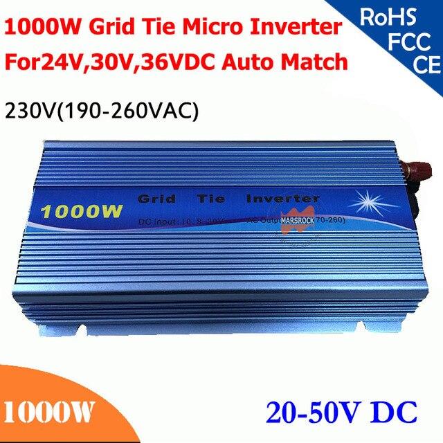 Микроинвертор, 1000 Вт, 20V 50VDC, 190V 260VAC 220 В/230 В, пригодный для работы для солнечной системы 1200 Вт, 24 В, 30 в, 36 В
