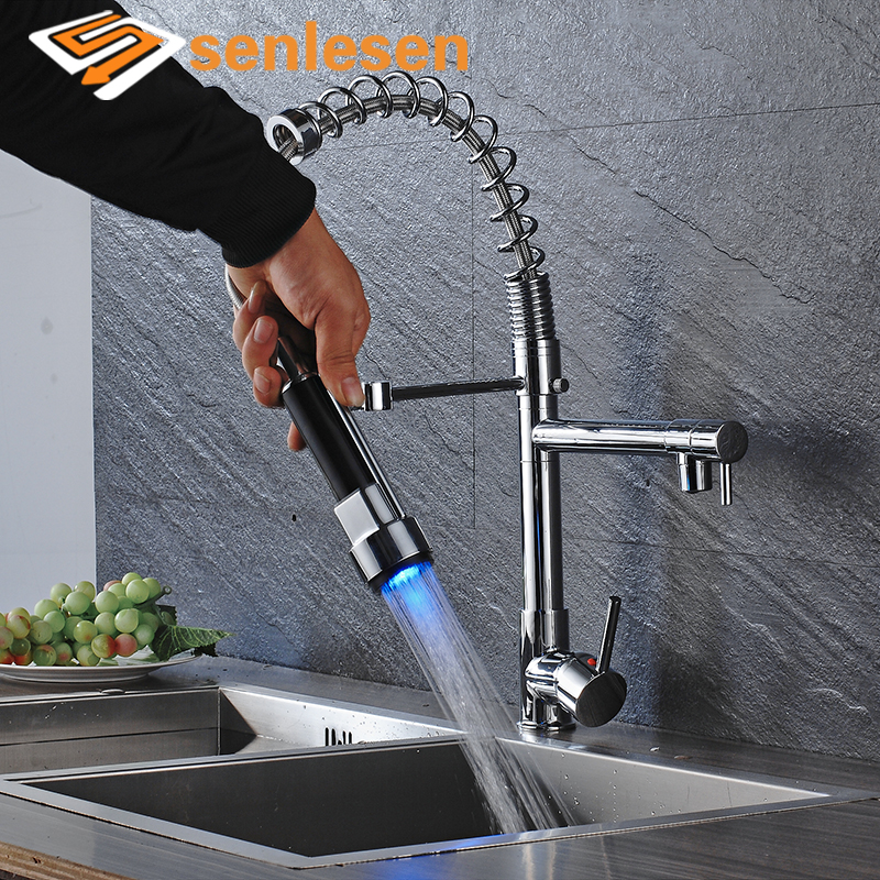 Wholesale And Retail Kitchen Sink Taps Chrome Brass Spring LED Kitchen Faucet Single Handle Hole Vessel Sink Mixer Tap wholesale and retail luxury chrome brass 360 swivel spout kitchen faucet single handle hole vessel sink mixer tap