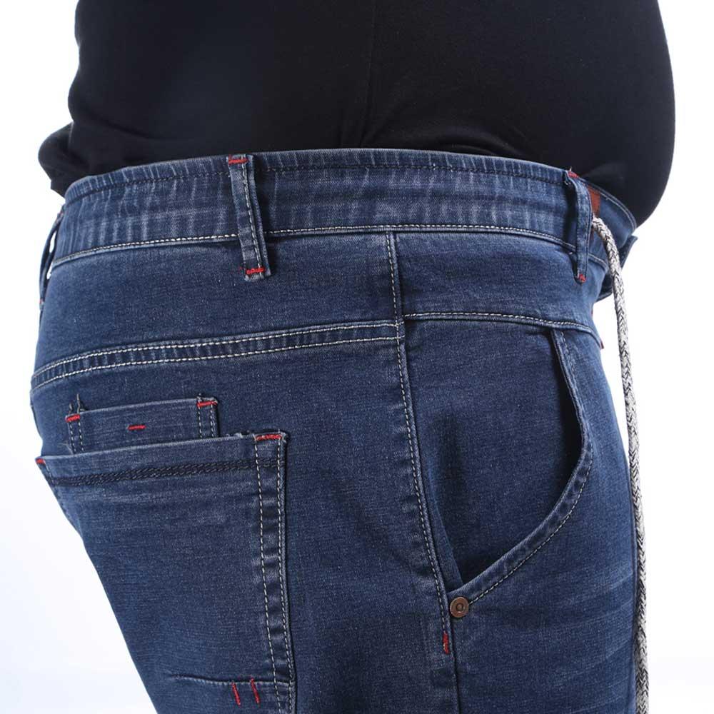 De los hombres de Cintura Elástica Jeans Rectos Pantalones de ...