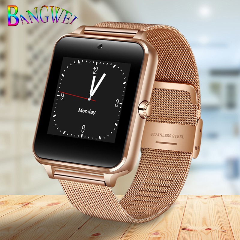 BANGWEI2018 New Smart Watch Men Fashion Stainless Steel Strap Support SIM Card TF Call LED Large Screen Camera Sport Watch + Box 1