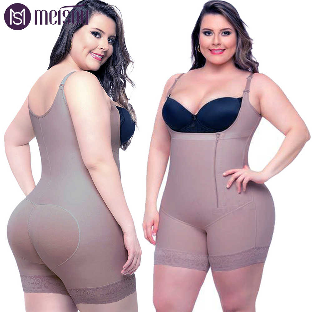 96ee7324d5a Plus Size 6XL Hot Latex Women s Body Shaper Post Liposuction Girdle Clip  Zip Bodysuit Vest Waist