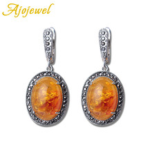 Ajojewel Beautiful Orange Resin Stone Vintage Earrings For Women Bijoux Fashion Retro Ladies Jewelry Unique Gifts