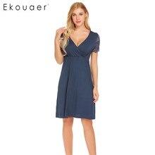 Ekouaer Women Nursing Sleepwear Lace Short Sleeve Nightgown Faux Wrap V Neck Nightdress Nightwear Female Home Clothes
