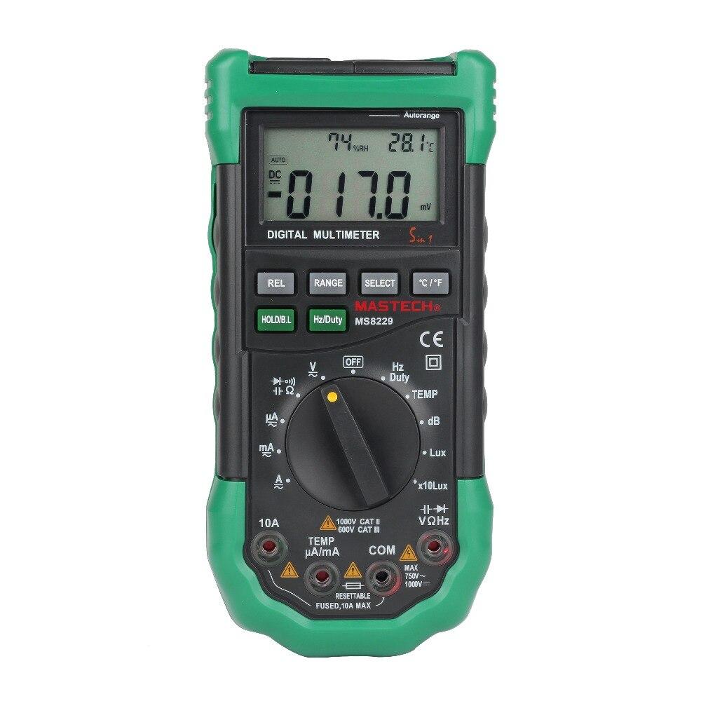 MASTECH MS8229 Цифровой мультиметр 5 в 1 Шум освещения Температура влажность тестер Диагностический Инструмент Авто Диапазон ЖК-дисплей Подсветка