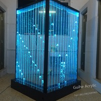 Waterfall Style LED Wall Screen, 90 degree splicing Bubble Wall Water Panel For Fish Tank