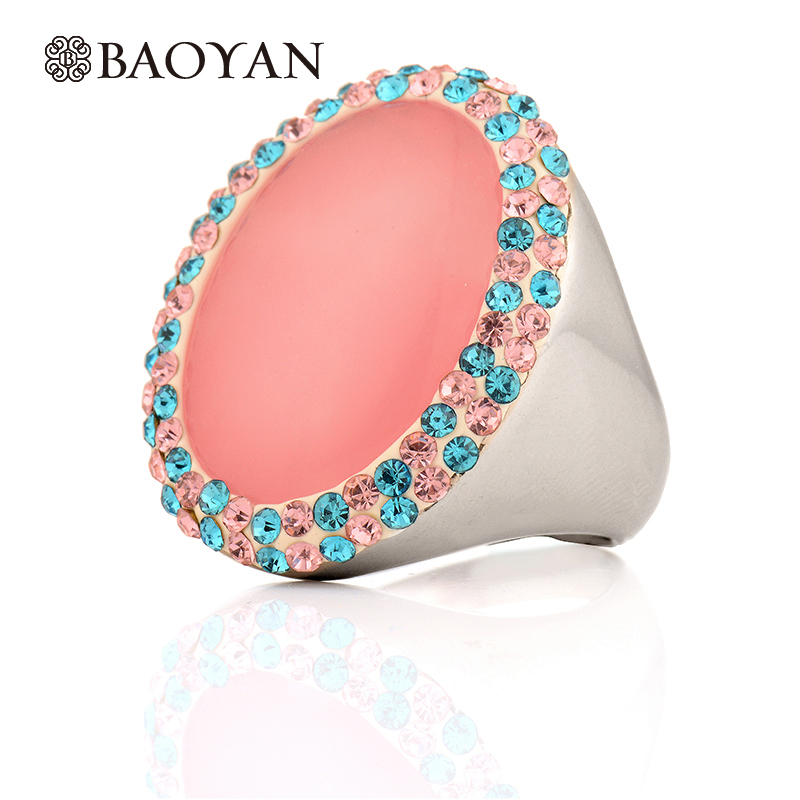Unique Pink Oval Quartz Stone Stainless Steel Women Rings Pave Crystal Silver Plated Fashion Colorful Ring Jewelry Baoyan N35