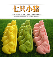 3D 7 hole pig cake mould silicone mold butter hot pot bottom material mould Ice model baking tools