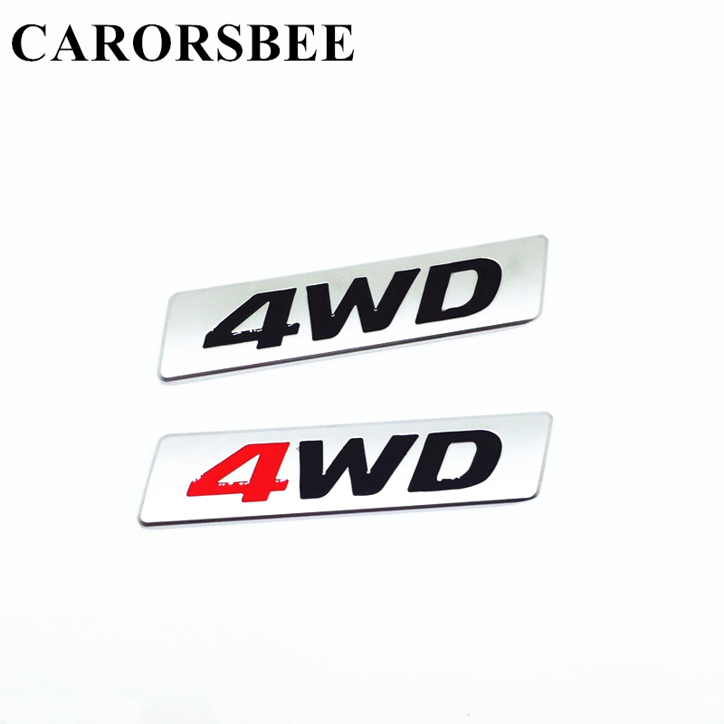 CARORSBEE Car Styling 3D Chrome Metal Sticker 4WD Displacement Emblem 4X4 SUV Badge Decal For corolla avensis hilux toyota camry auto chrome camaro letters for 1968 1969 camaro emblem badge sticker