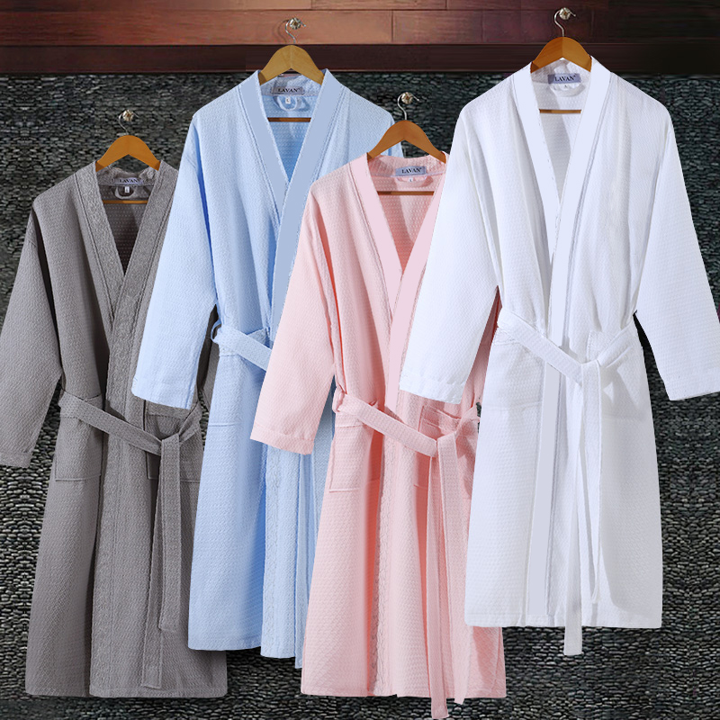 Waffle Bathrobe Lounge-Robes Dressing-Gown Water-Kimono On-Sale Plus-Size Mens Male Suck title=