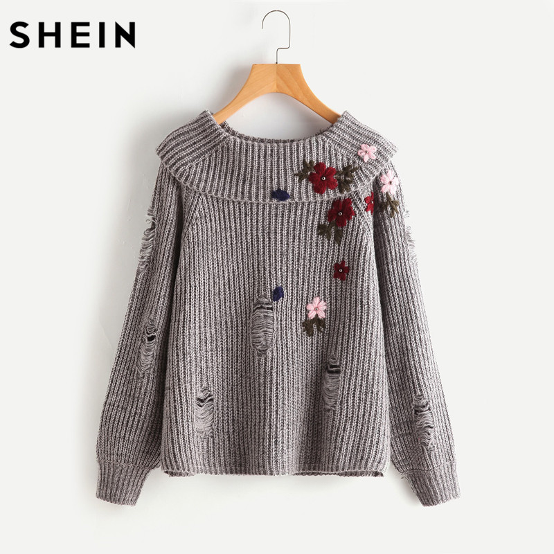 SHEIN Foldover Neck Flower Embroidered Distressed Jumper Grey Long Sleeve Loose Autumn Women Sweaters and Pullovers