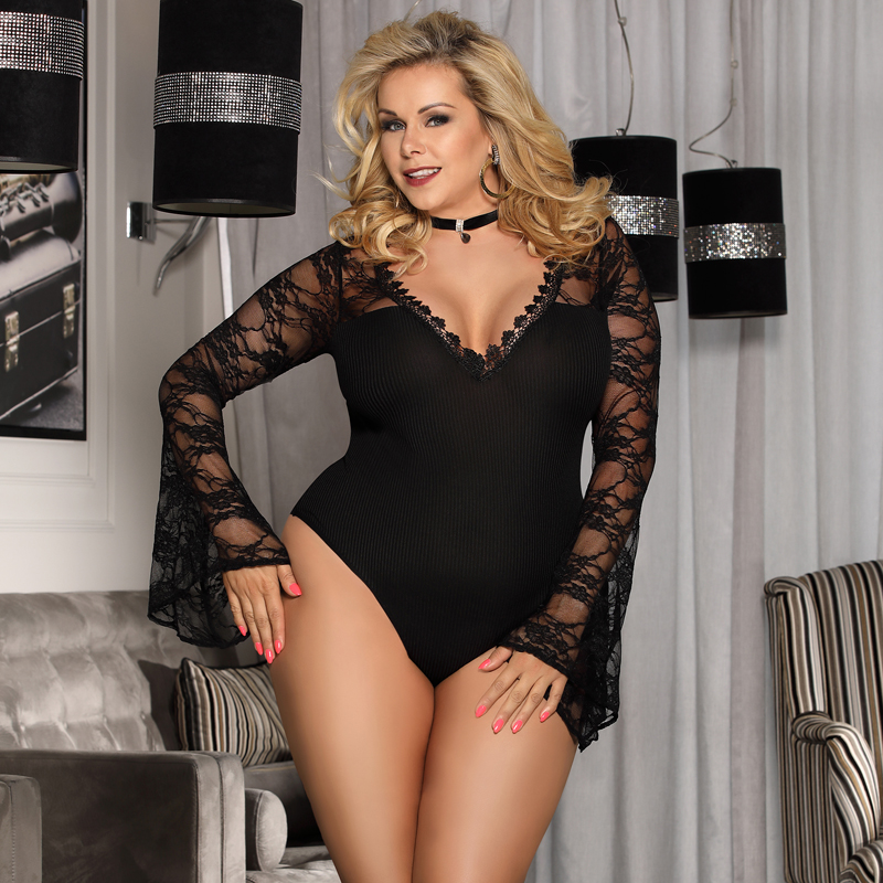 947fb739074 Comeonlover V-neck Bell Long Sleeves Jumpsuits Rompers Plus Size Womens  2018 Jumpsuits Black Mesh Club Lace Bodysuit RI80589 Detail Show