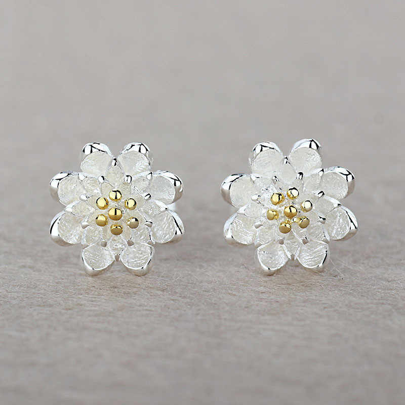 Factory Price One Pair Lotus Earrings Accessories 925 Sterling Silver Women Beautiful Luxury Jewelery Gift Hot Selling