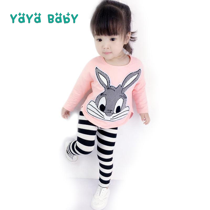 1 2 3 4 5 6 Year Children Clothing Long Sleeve Shirts Striped Leggings Kids Suits 2018 New Spring Autumn Rabbit Girls Clothes side striped leggings