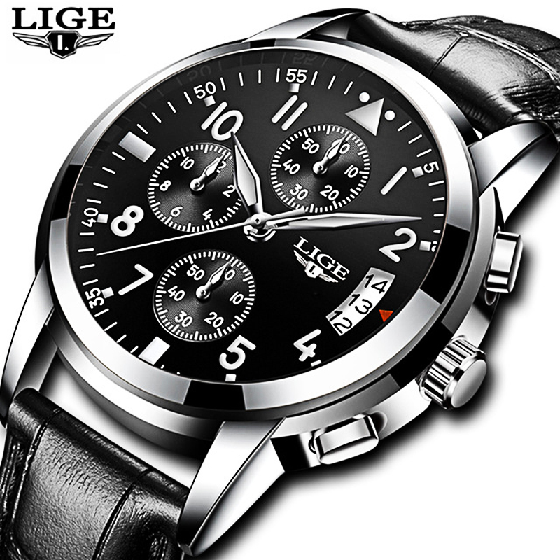LIGE Top Brand Luxury Mens Watches Quartz Business Watch Men Casual Waterproof Sport Watch male Relogio Masculino relojes hombre