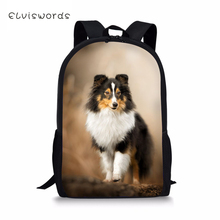 ELVISWORDS Fashion Kids Backpacks Sheltland Sheepdog Pattern Childrens School Book Bag Toddler Schoolbags Women Travel Backpack