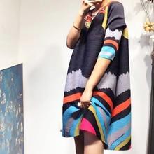 LANMREM 2020 tempérament haute qualité robes plissées pour les femmes été nouvelle personnalité impression col rond vêtements amples YH320