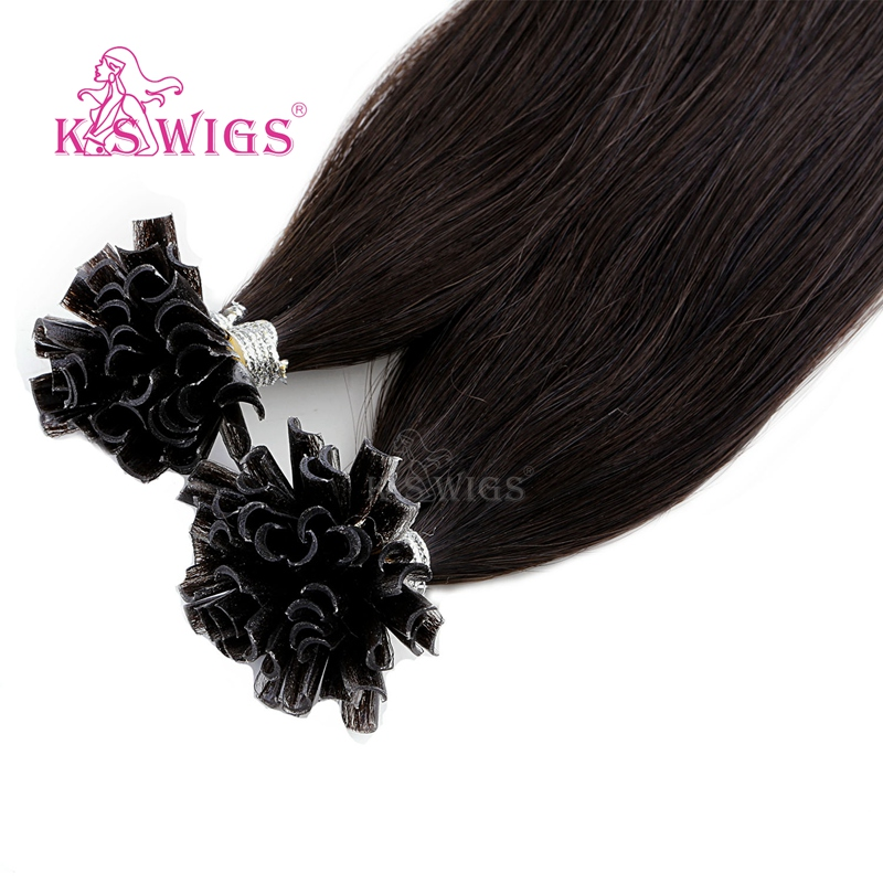 Image 4 - K.S WIGS 16 20 24 28 Straight Pre Bonded Fusion Hair Remy Keratin Capsules Nail U Tip Human Hair Extensions 25s/packNail/U Tip   -