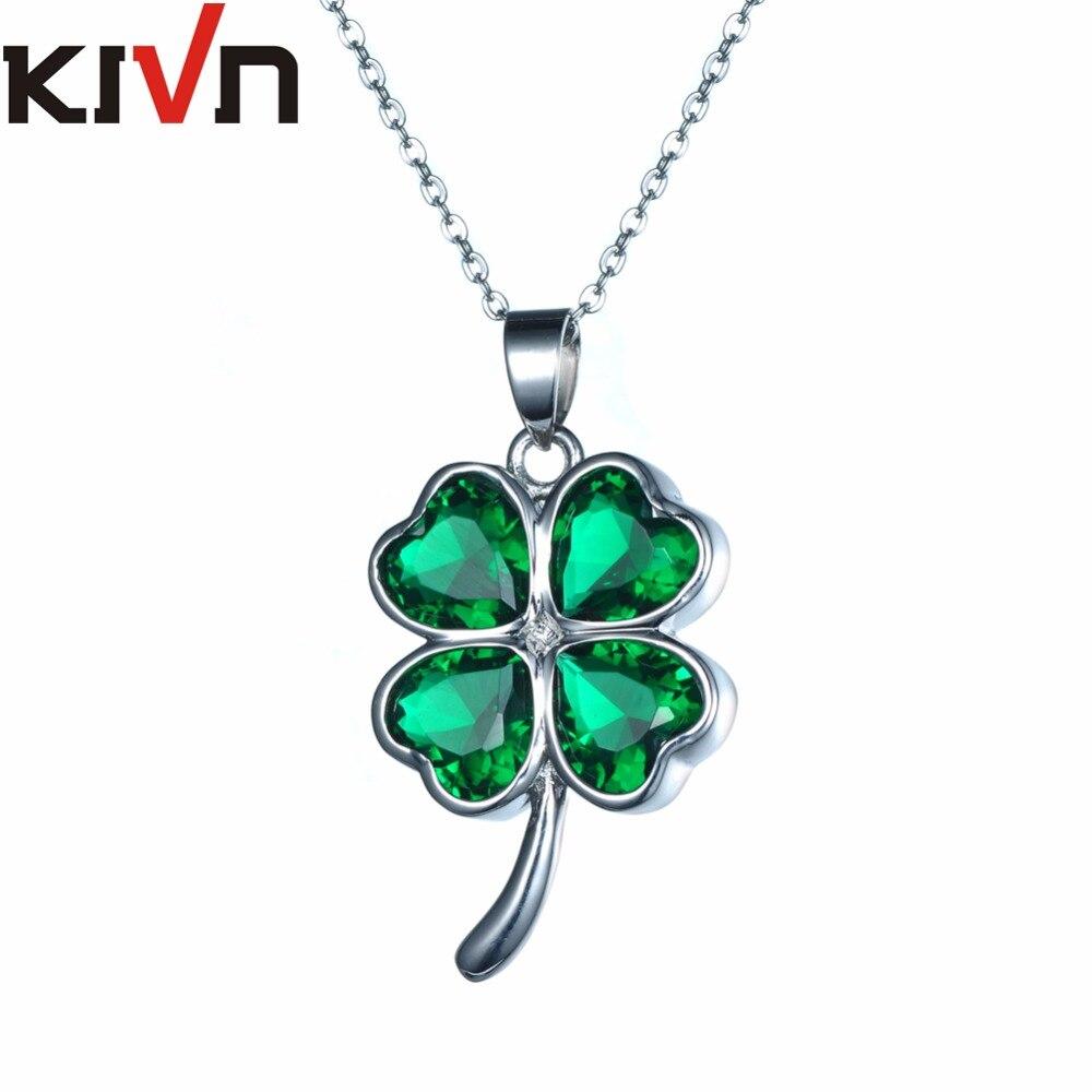 Kivn женские Модные украшения Lucky Four Leaf Clover зеленый CZ кубический цирконий Свадебный Ожерелья мам продвижение рождения подарки