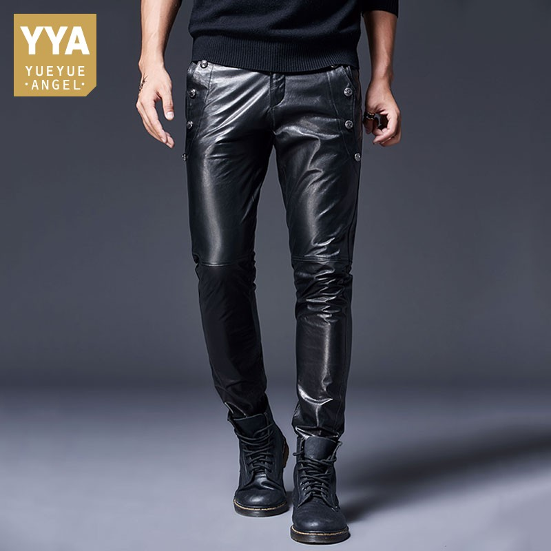 2019 New Goatskin Genuine Leather Pants Men Brand Windproof Motorcycle Biker Trousers Spring Casual Skinny Leather Pants 29-36