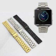 Edelstahl Link Armband Uhr Bands Strap mit Werkzeug für Fitbit Blaze Aktivität Tracker SmartWatch Band
